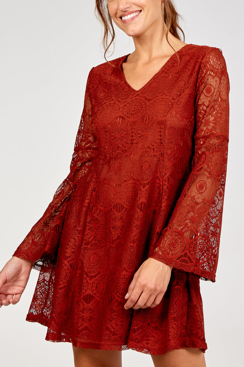 Swing Sleeve Lace Dress