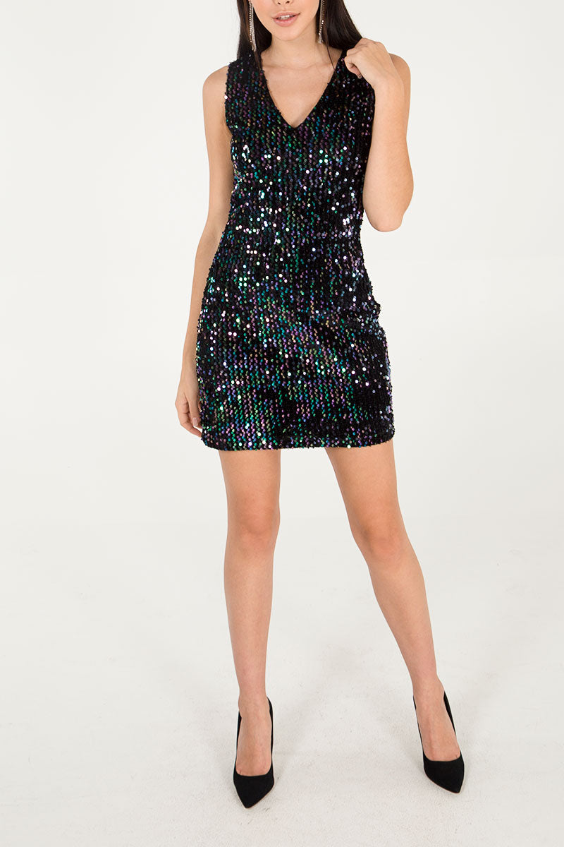 Sleeveless Sequin V Neck Dress