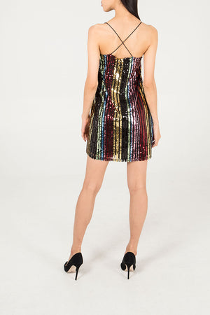 Stripe Sequin Cami Dress