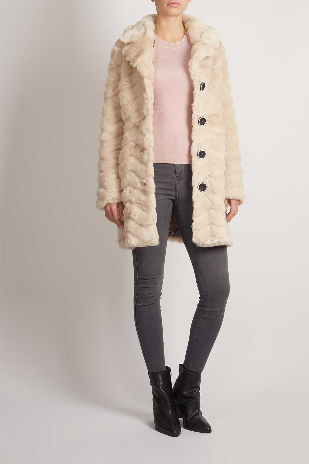 Button Front Collar Faux Fur Coat