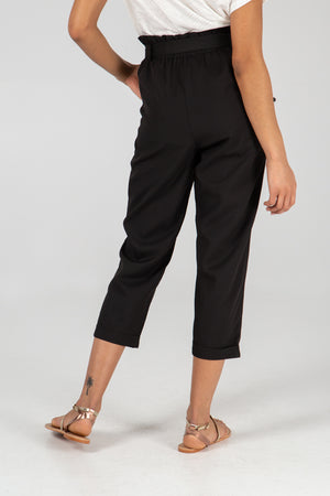 Belted High Waist 3/4 Length Trousers