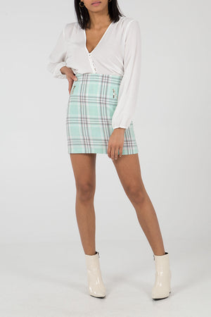 Check Side Zip Mini Skirt