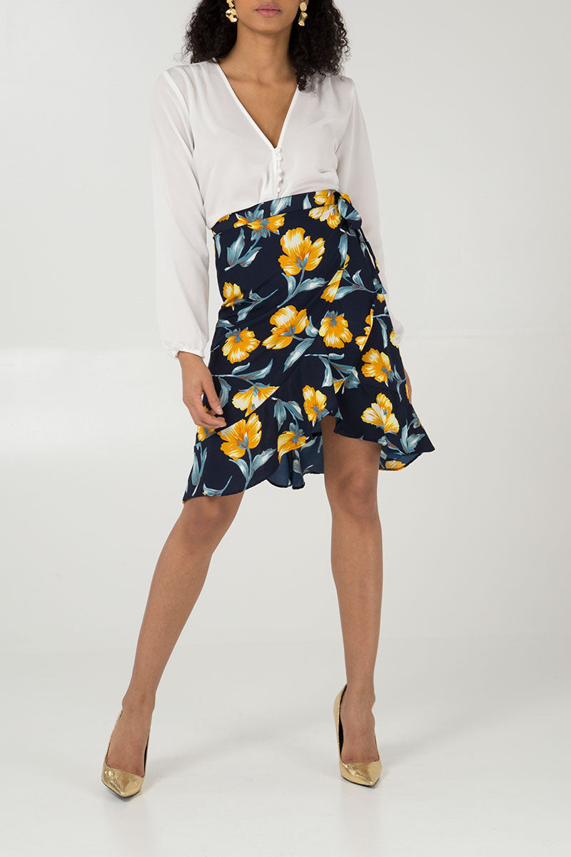 Frill Tie Front Skirt