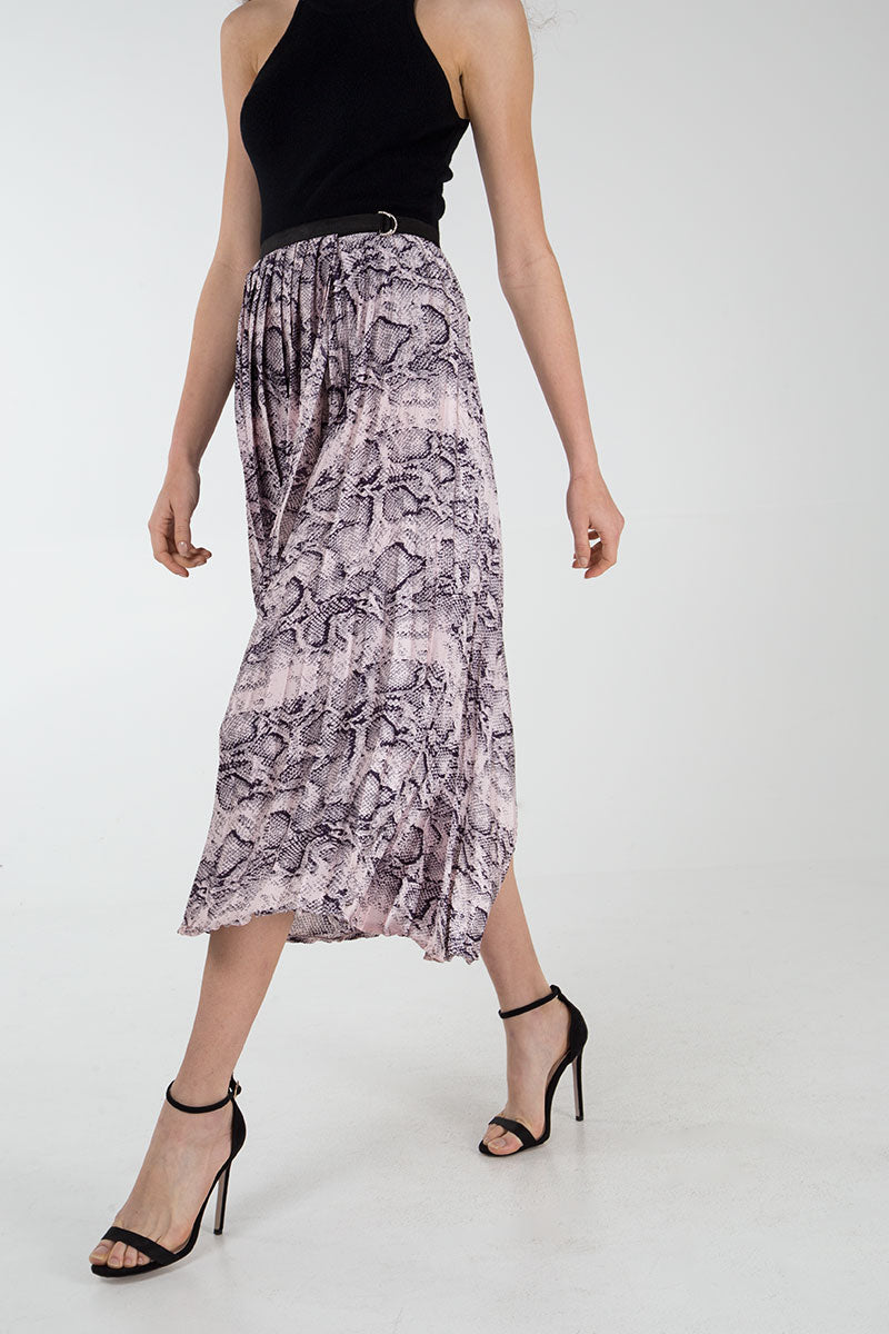 Snake Print Pleated Asymmetric Skirt