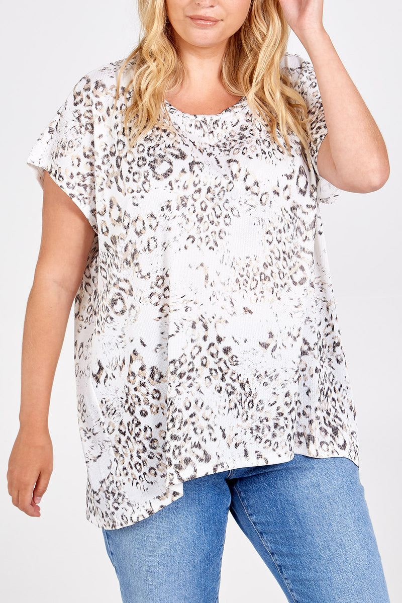 Leopard Pattern Pleated Oversized Tee