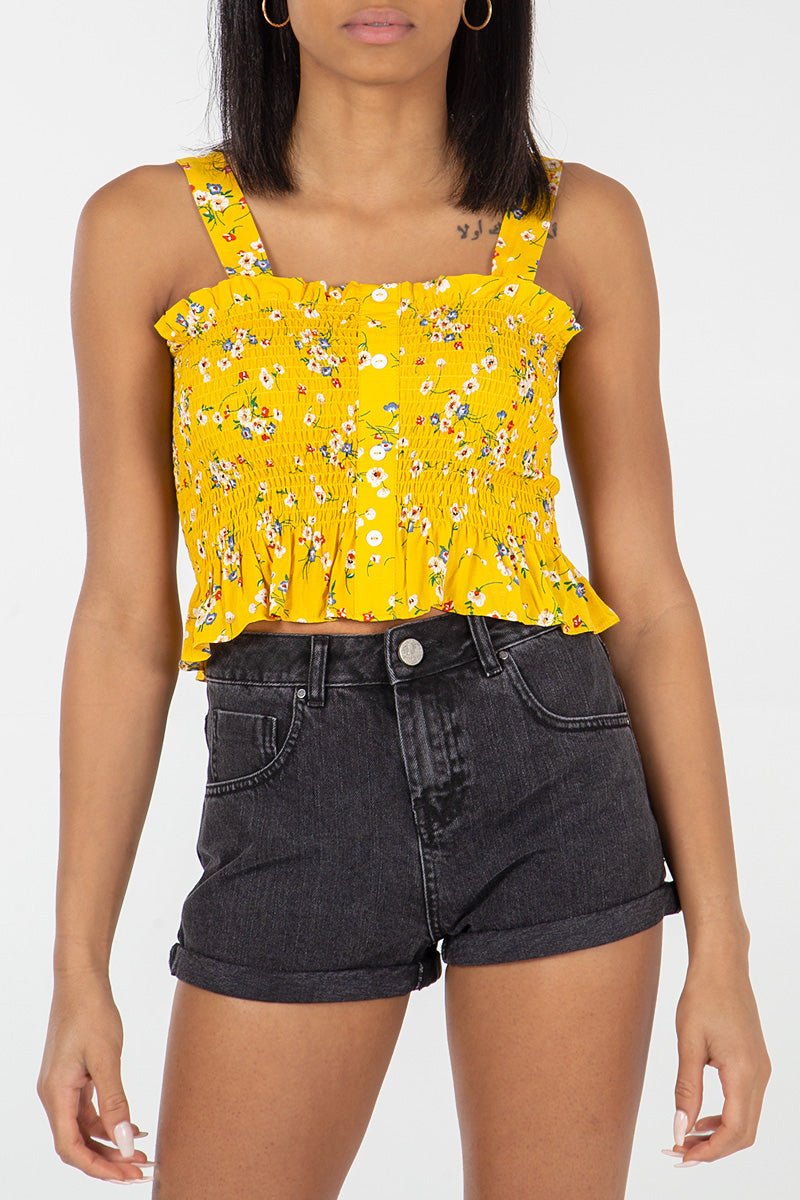 Button Front Shirring Crop
