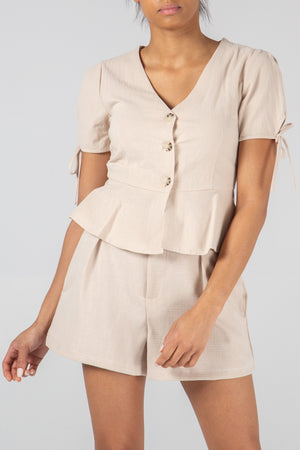 Button Front V-Neck Top