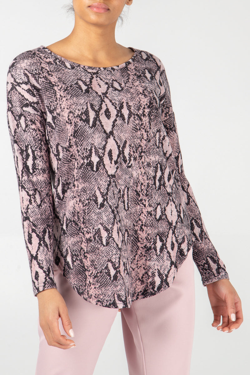 Snake Print Long Sleeve Zip Back Top