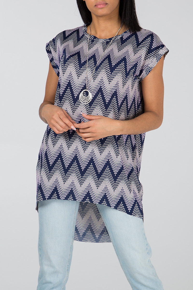 Aztec Print Oversized Necklace Top