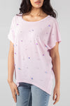 Short Sleeve Oversized Top With Pearls