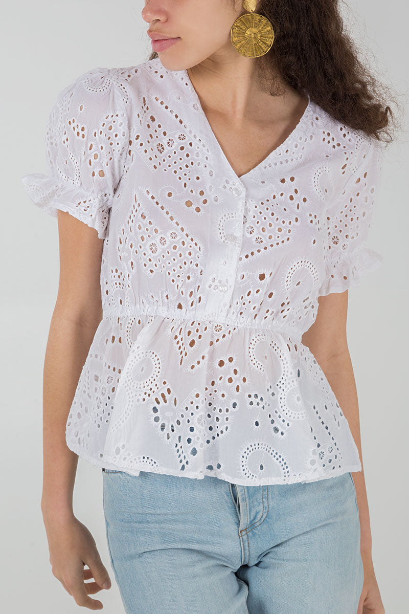 Lace Button Up Peplum Top