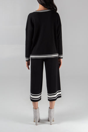 Sporty Stripe Sweater And Culotte Set