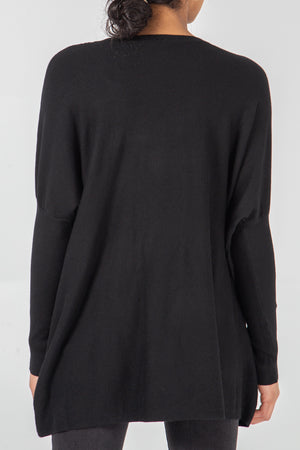 Crew Neck Batwing Top With Pockets