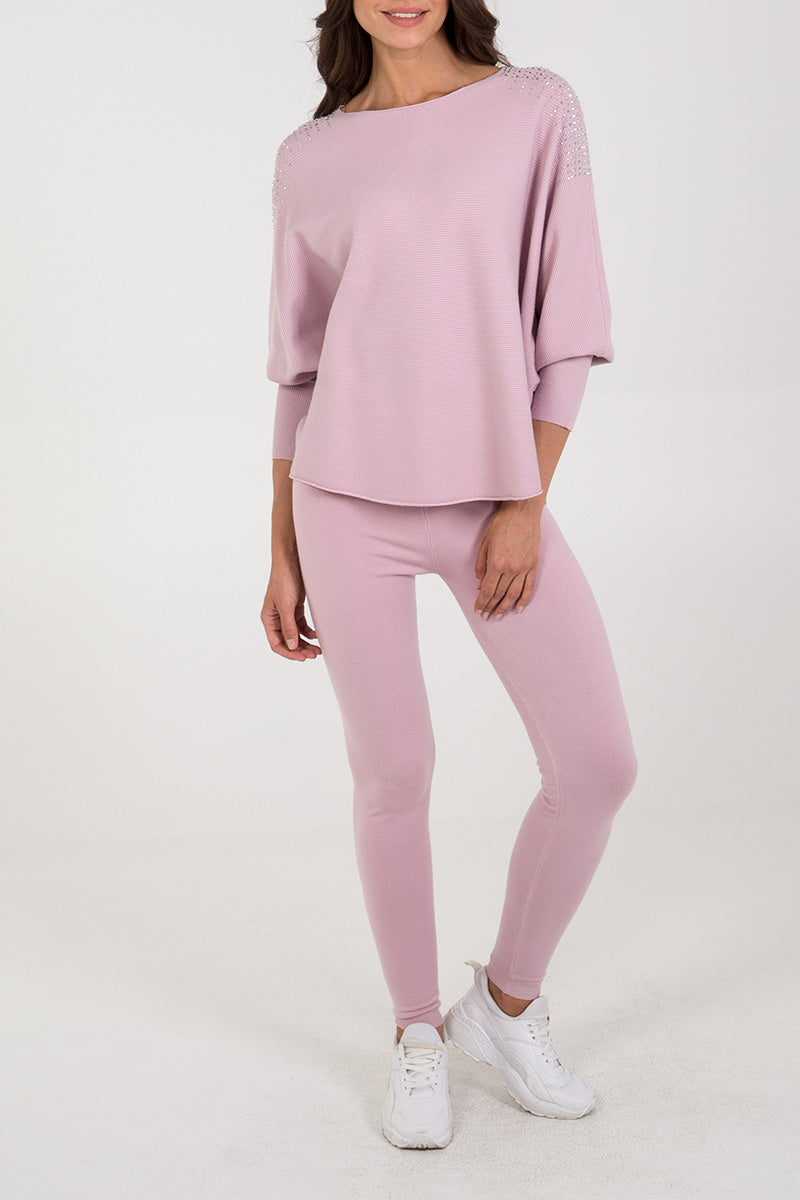 Embellished Ripple Batwing Jumper & Leggings Set