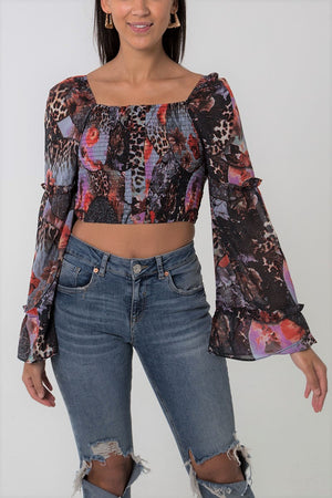 Flared Sleeve Button Front Shirred Crop Top