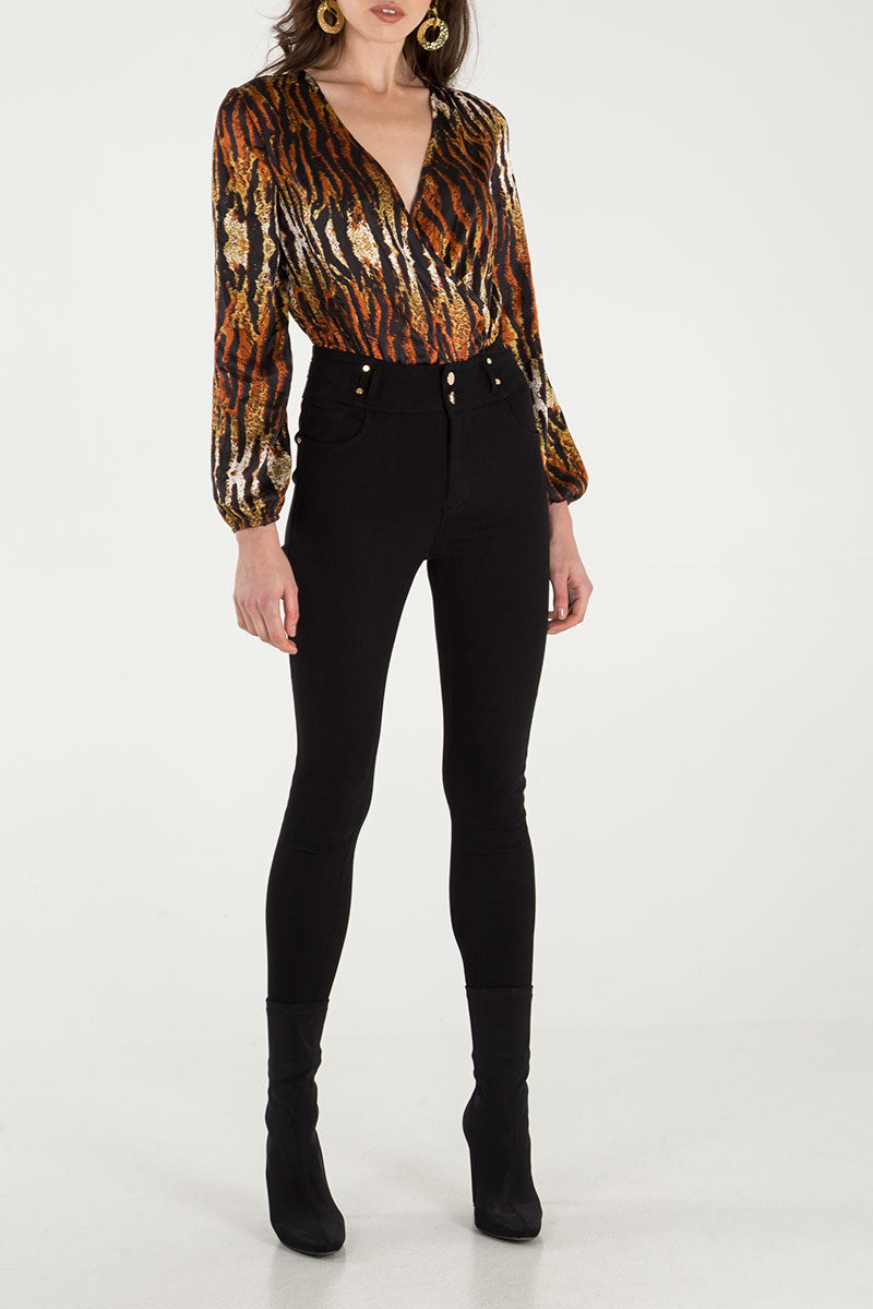 Tiger Print Long Sleeve Bodysuit