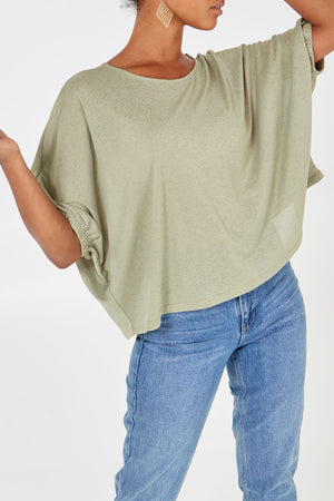 3/4 Sleeve Crew Neck Top