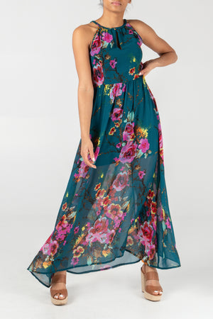 Keyhole Halter Neck Floral Print Maxi Dress