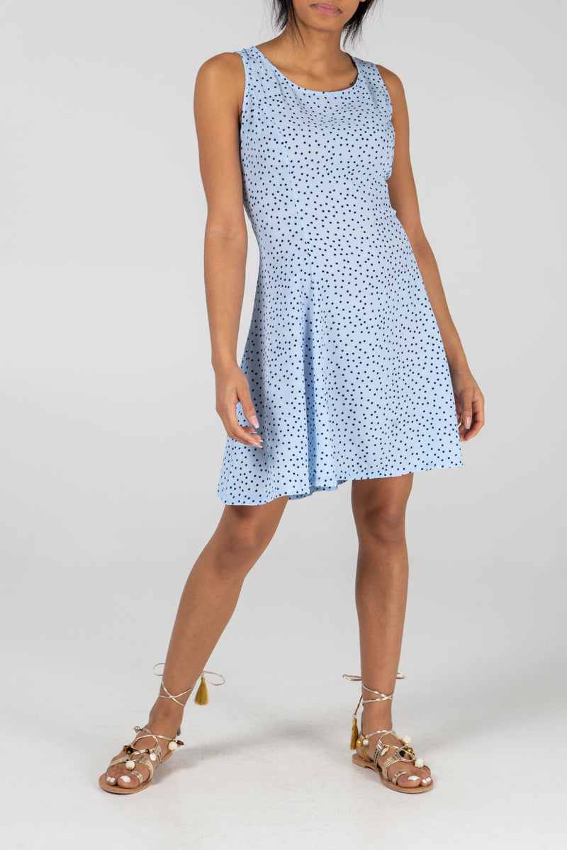 Basic Sleeveless Swing In Ditsy Polka Dot