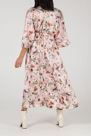 Kimono Sleeve Button Front Maxi Dress