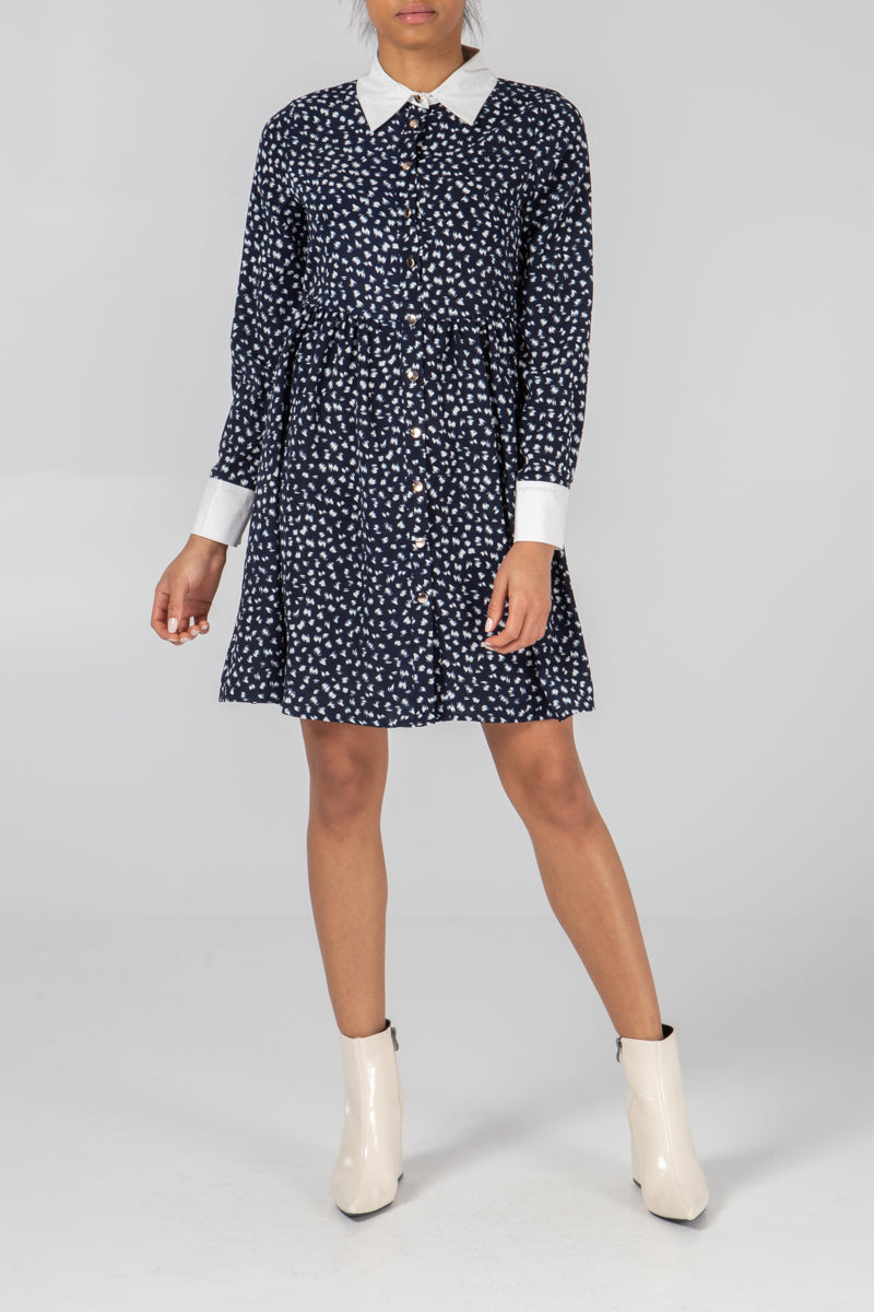 Button Through Cuff & Collar Dress