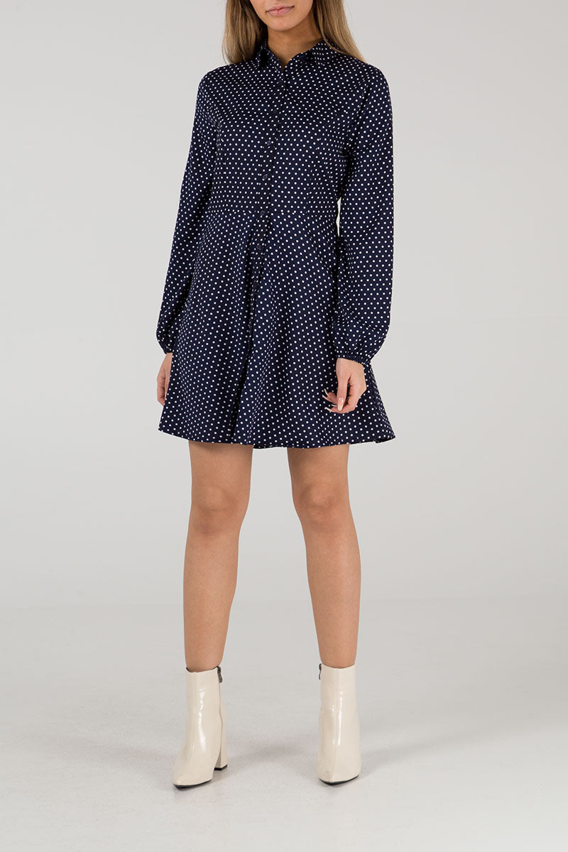 Button Through Polka Dot Shirt Dress