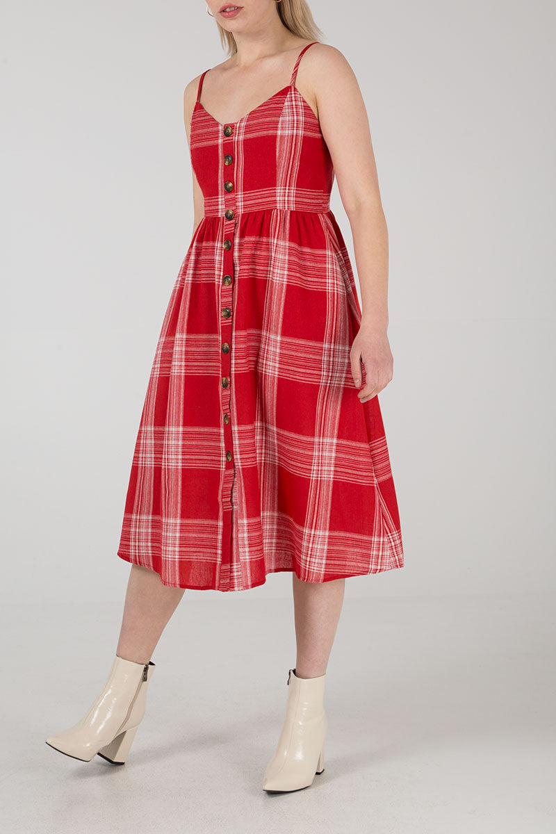 Button Front Check Midi Dress