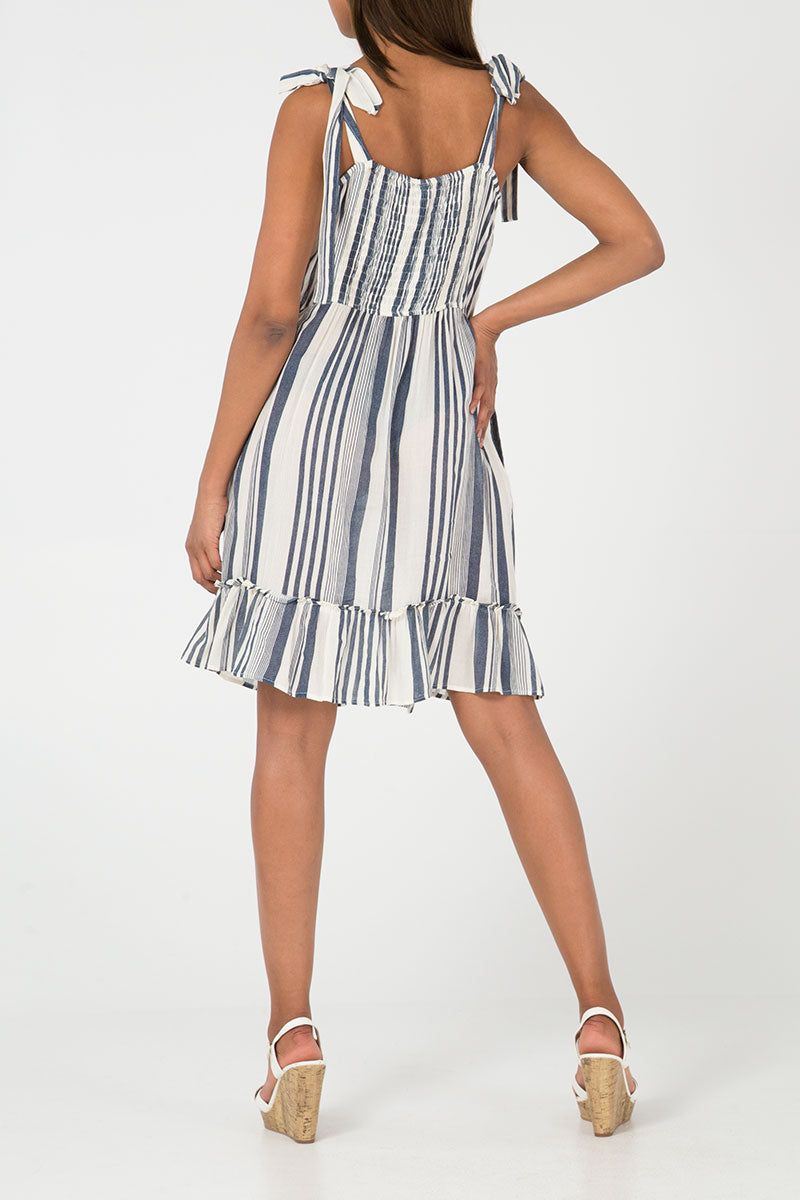 Tie Shoulder Button Through Stripe Dress