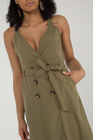 Double Breasted Belted Midi Dress