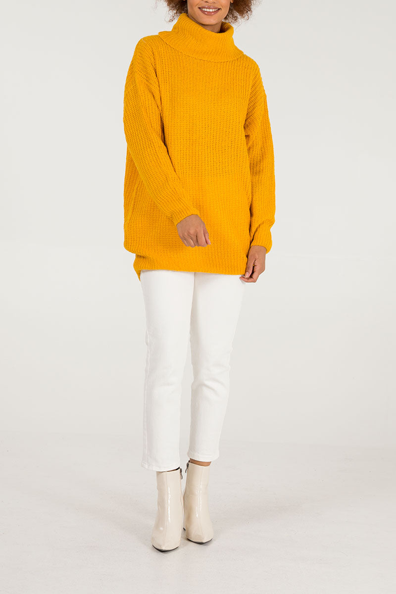 Slouchy Roll Neck Oversized Jumper