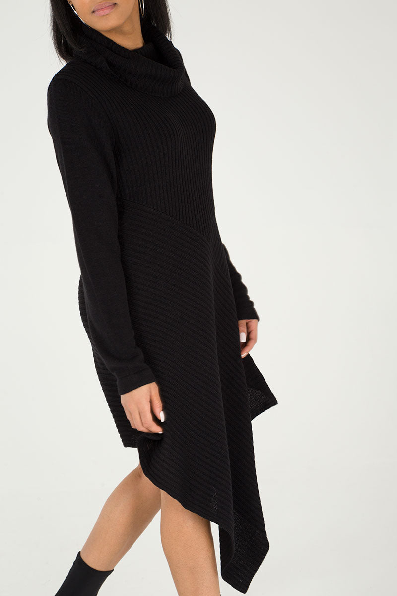 Asymmetric Roll Neck Jumper Dress