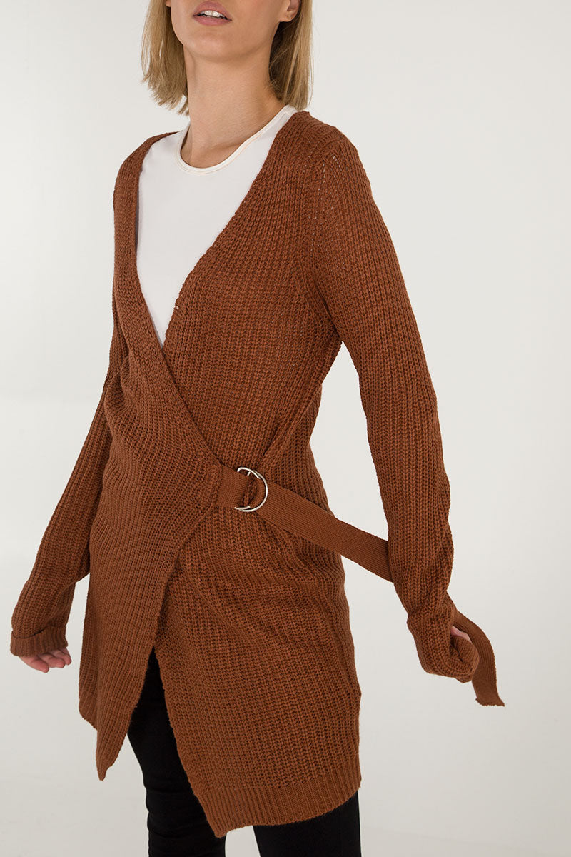 D-Ring Wrap Front Cardigan