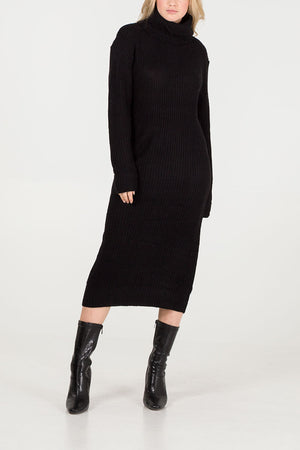 Knitted Roll Neck Jumper Dress