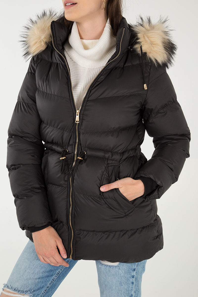 Faux Fur Hood Nipped Waist Puffer Jacket