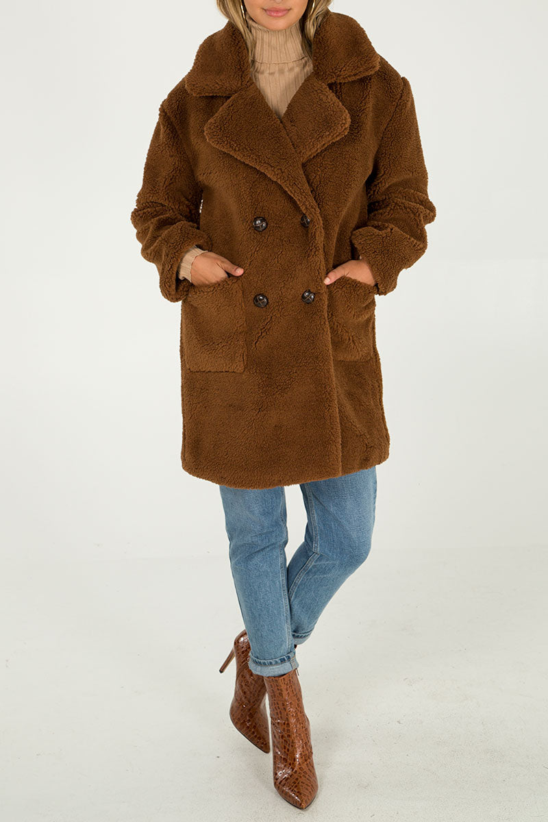 Drop Shoulder Double Breasted Teddy Coat