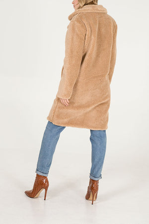 Double Breasted Midi Length Teddy Coat