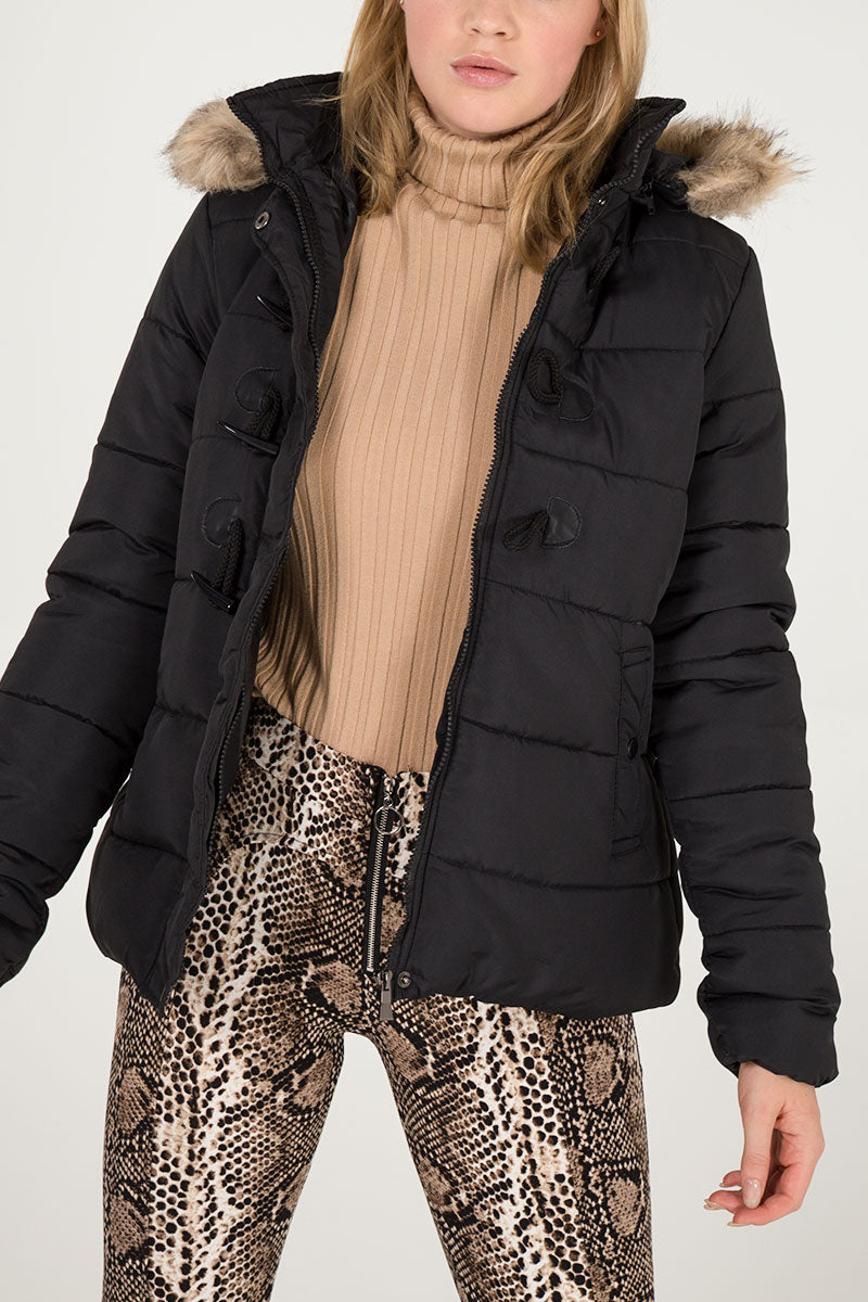Toggle Front Short Puffer Jacket