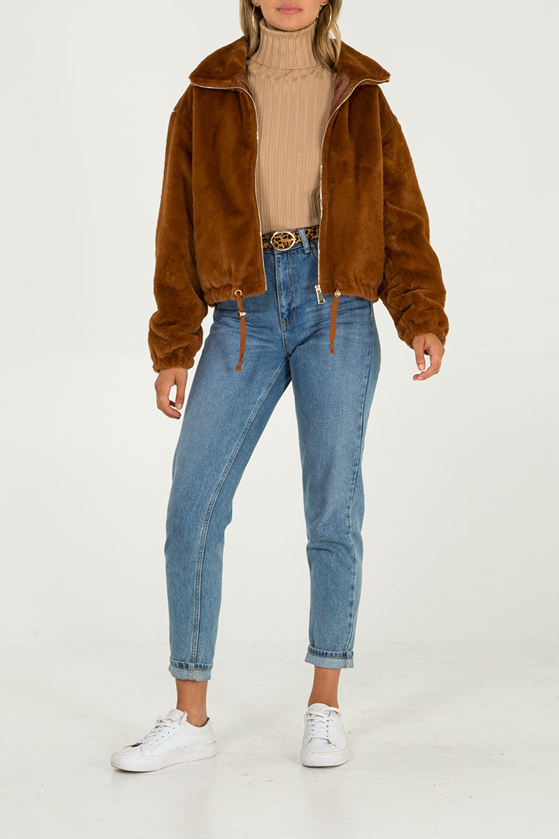 Zip Up Faux Fur Cropped Jacket