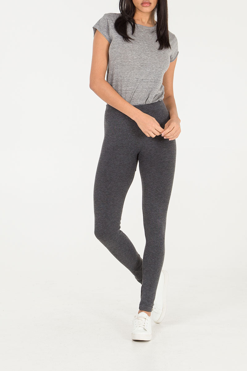 Melange Legging with Fur Lining
