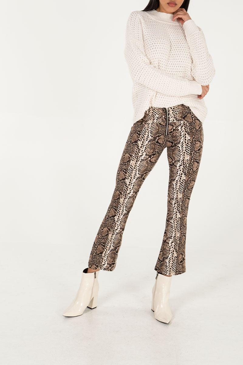 Snake Print Zip Front Trousers