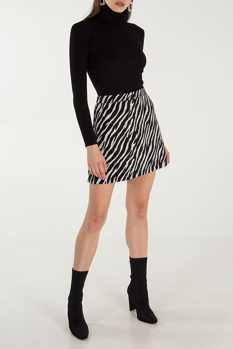 Zebra Jacquard Mini Skirt
