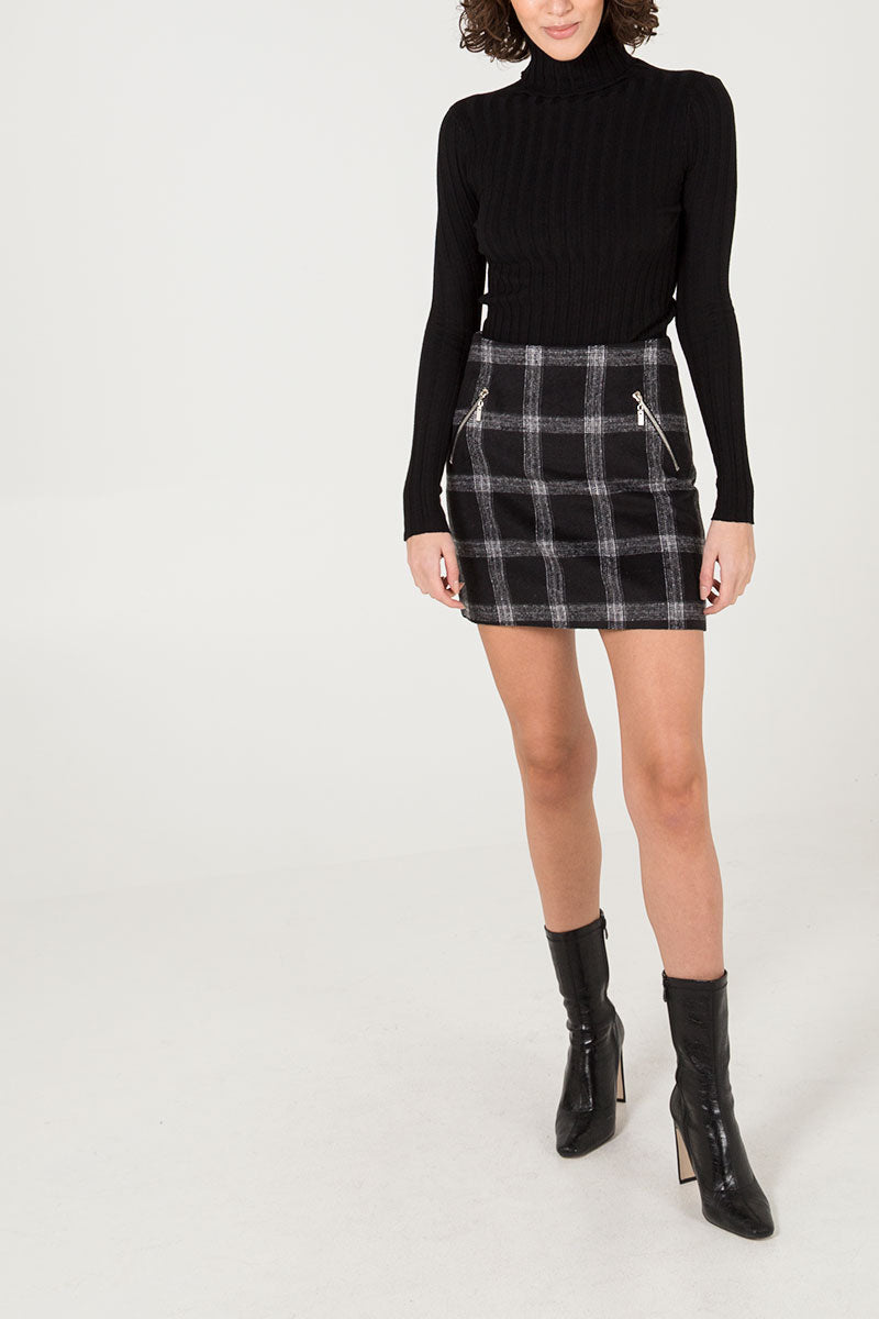 Zip Pocket Check Mini skirt