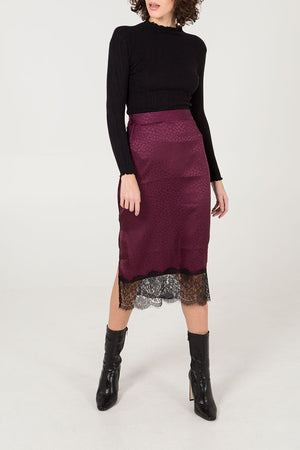 Lace Hem Jacquard Satin Skirt
