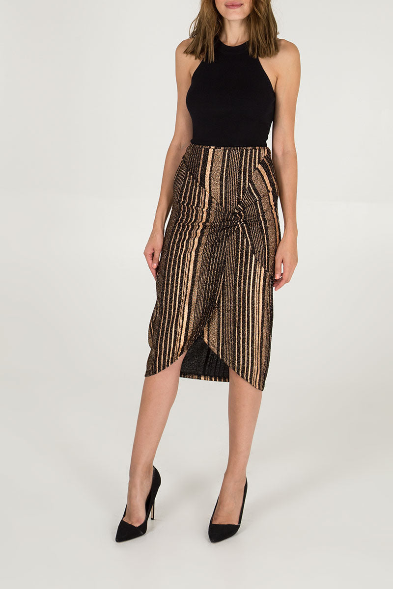 Rose Gold Twist Front Midi Skirt