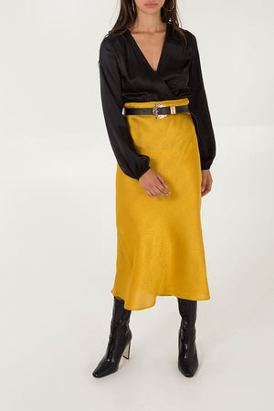Satin Jacquard Midi Skirt