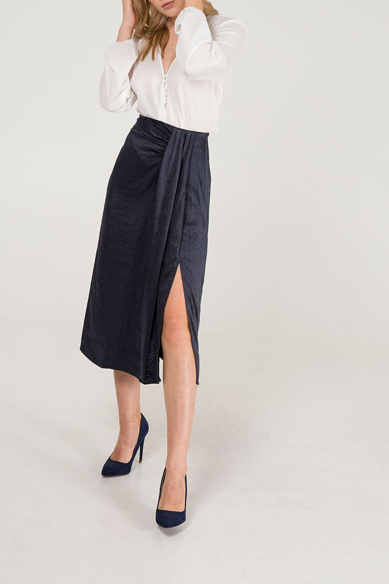 Front Pleat Midi Skirt