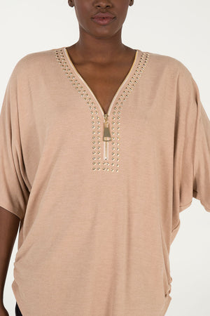 Oversized Zip Front Studded Top