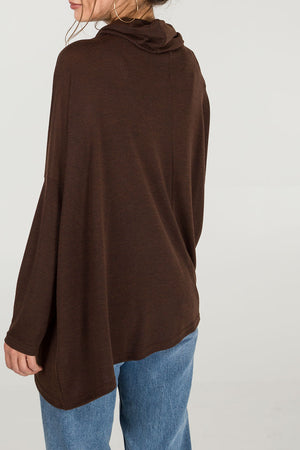 Asymmetric Zip Front Cowl Top