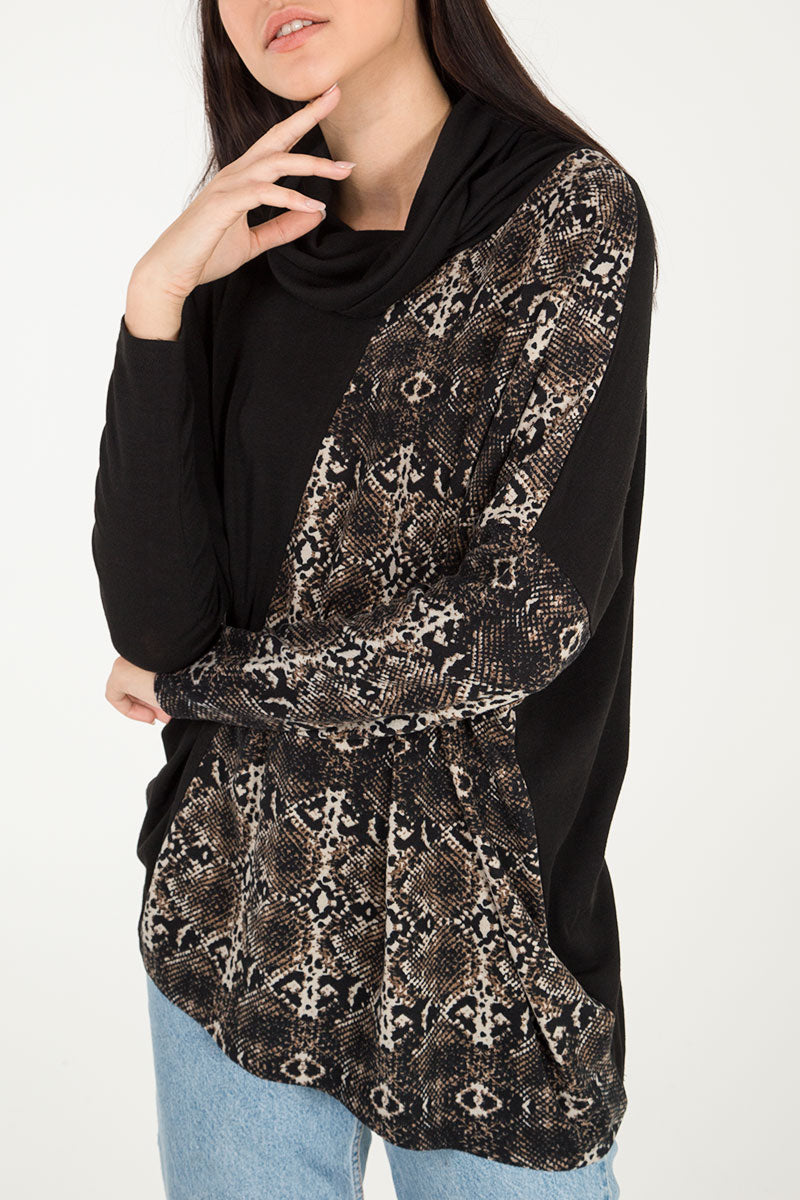 Snake Print Cowl Neck Oversized Top