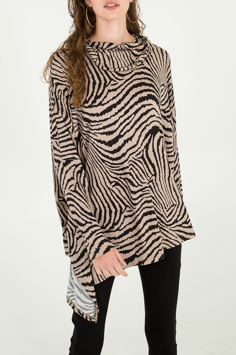 Zebra Oversized Asymmetric Cowl Neck Top